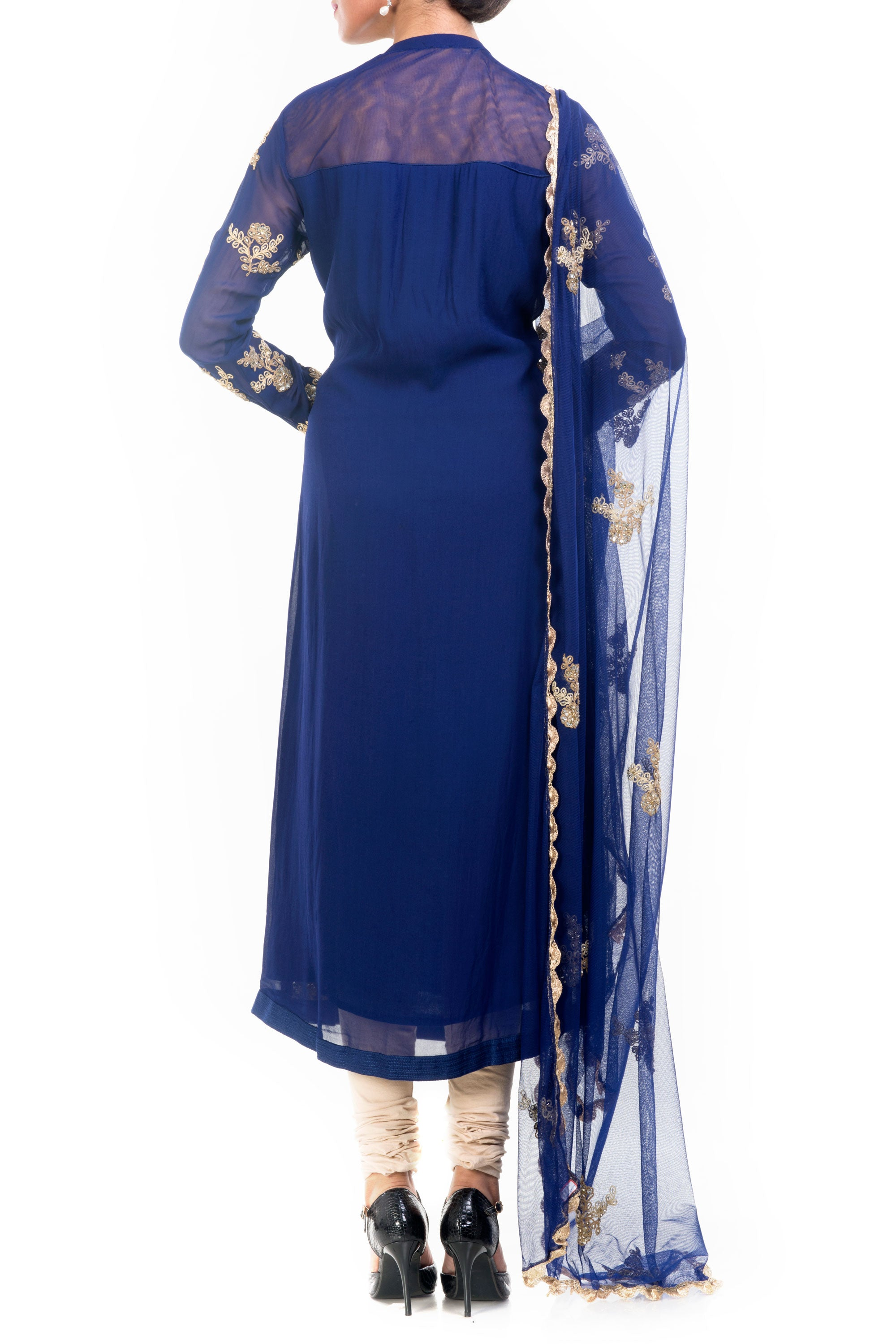 Midnight Blue Straight Tunic With Dupatta Back