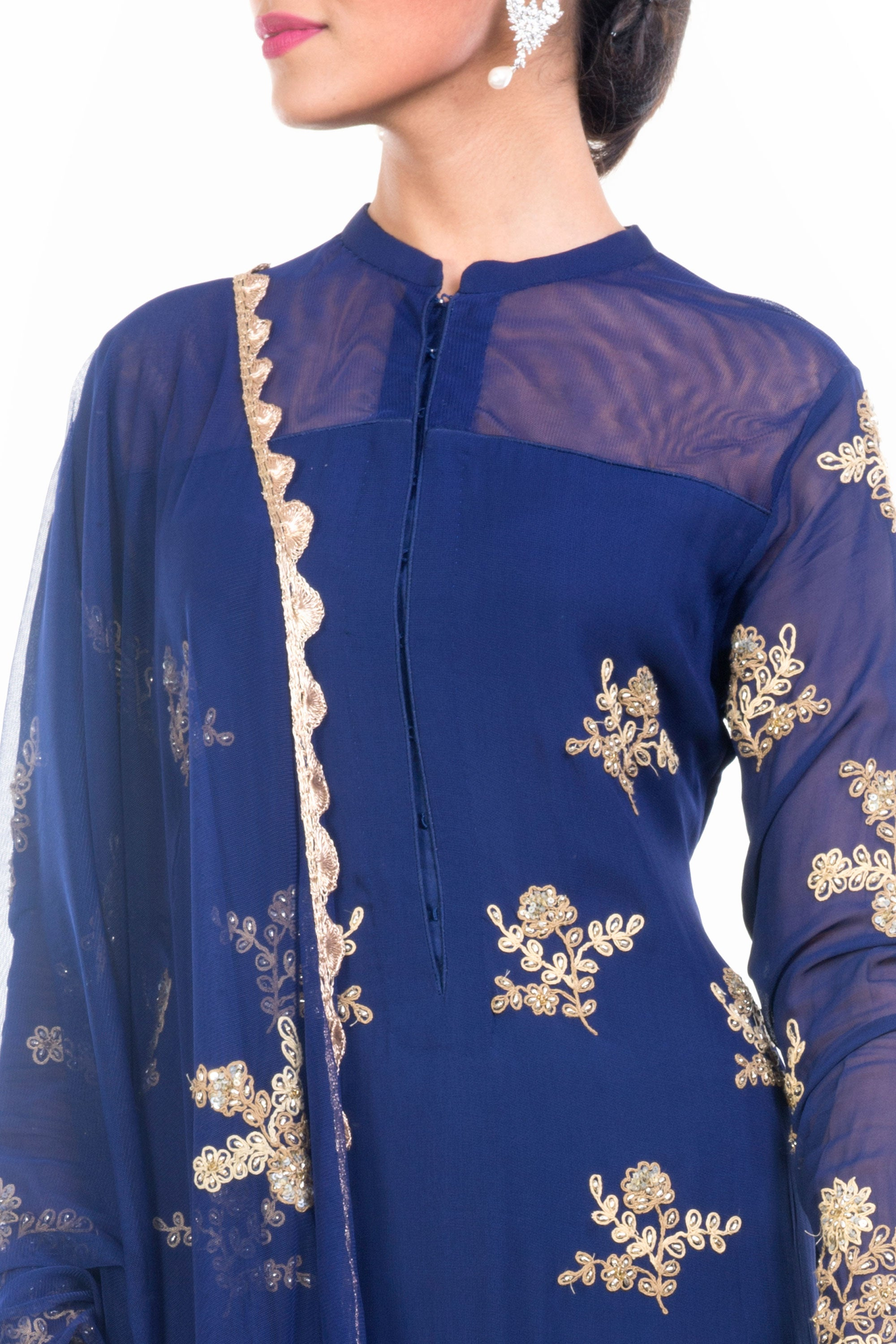 Midnight Blue Straight Tunic With Dupatta Closeup