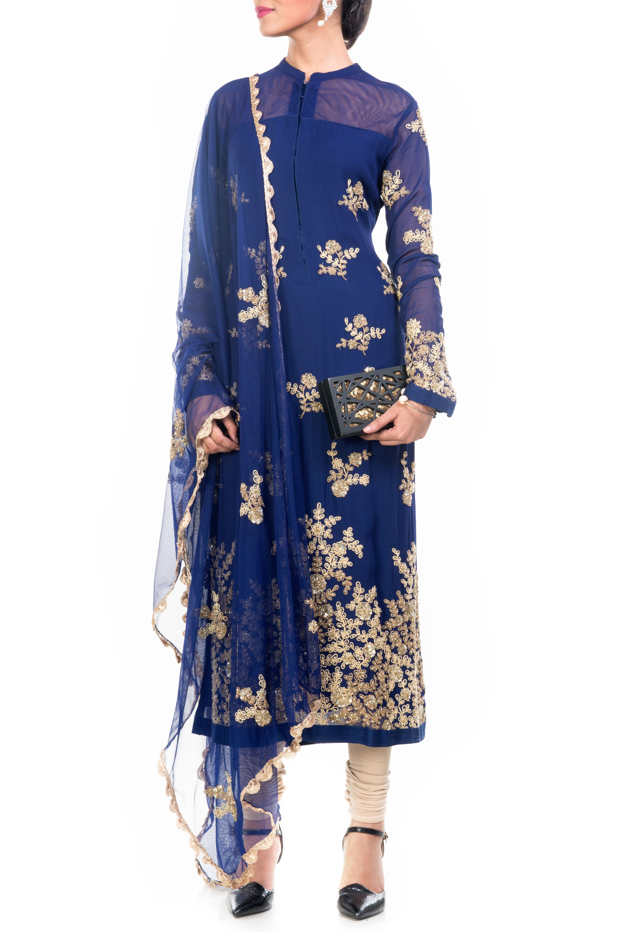 Midnight Blue Straight Tunic With Dupatta Front