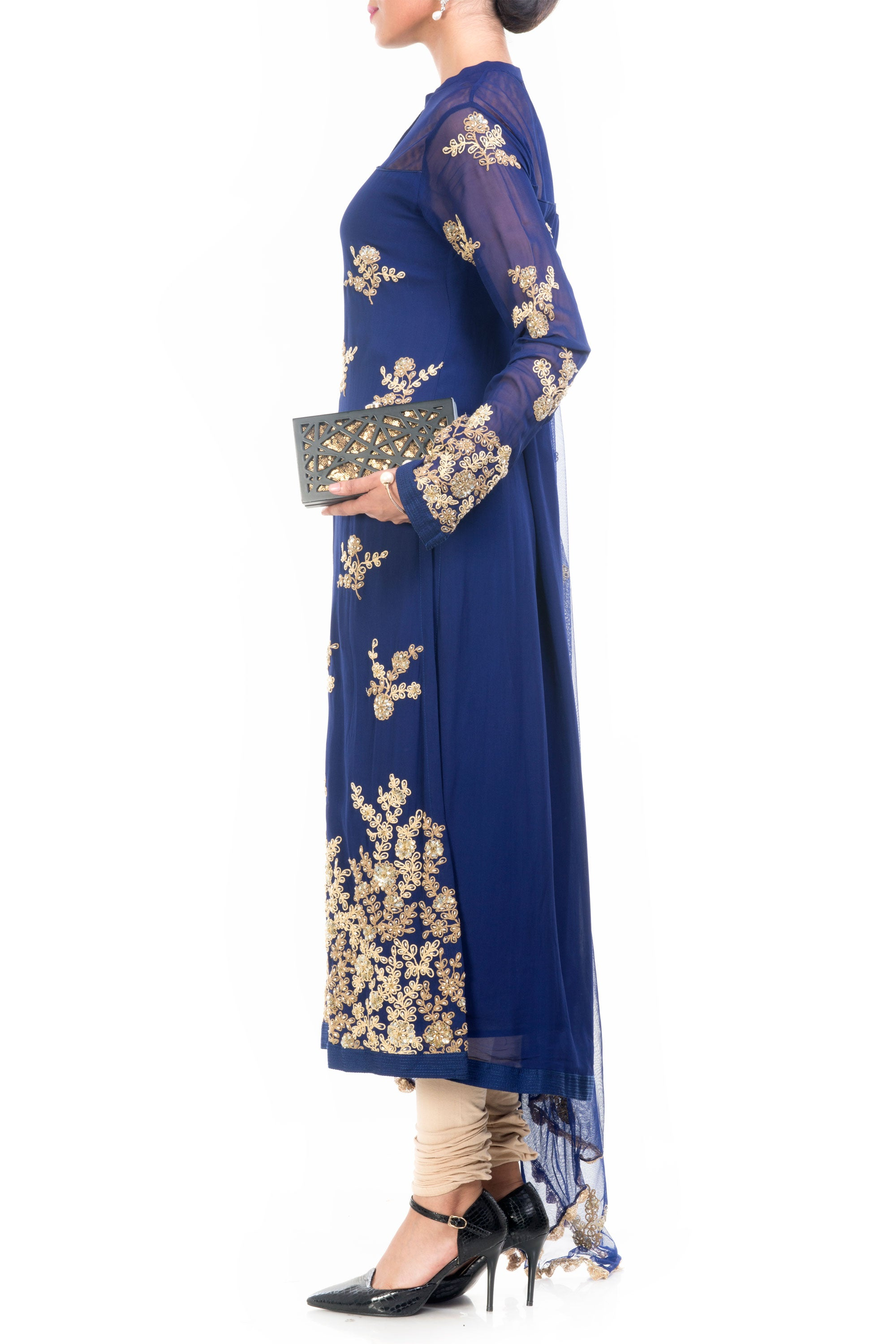Midnight Blue Straight Tunic With Dupatta Side