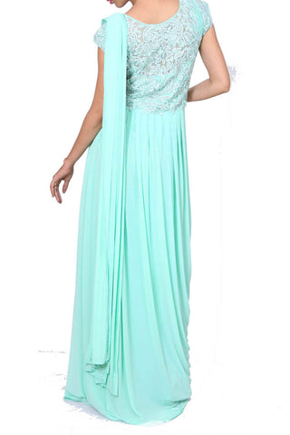 Aqua Blue Drape Dress With Embroidery