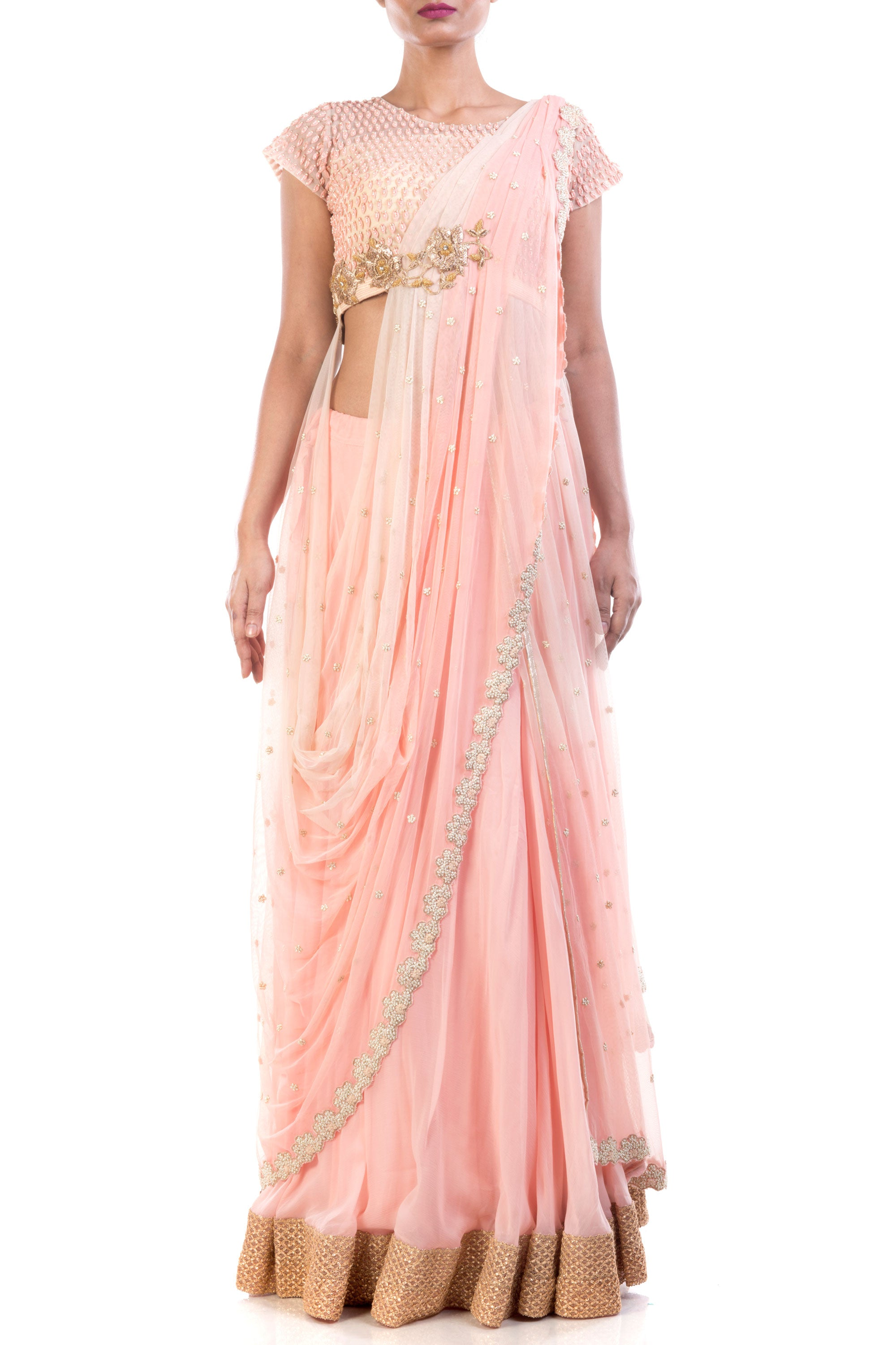 Bisque Lehenga With Attached Dupatta Front