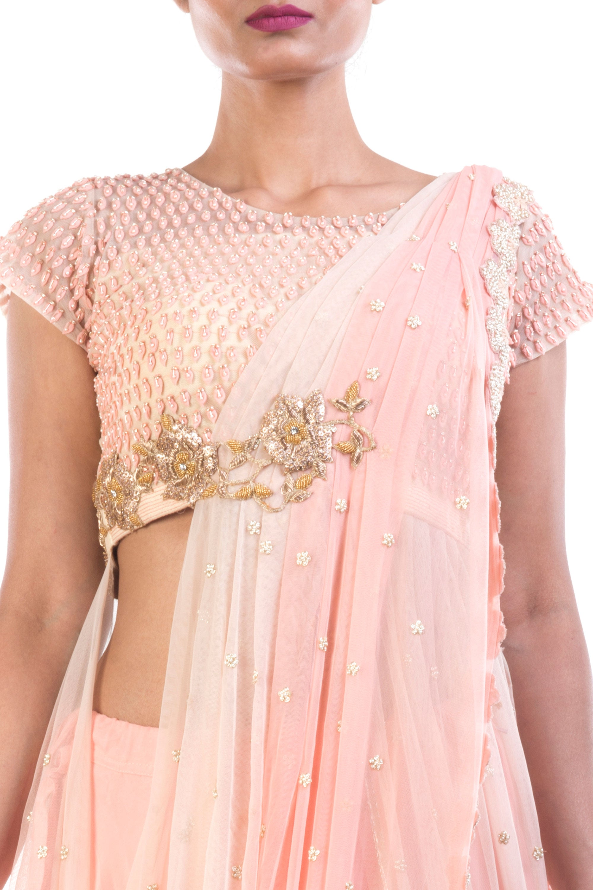Bisque Lehenga With Attached Dupatta Closeup