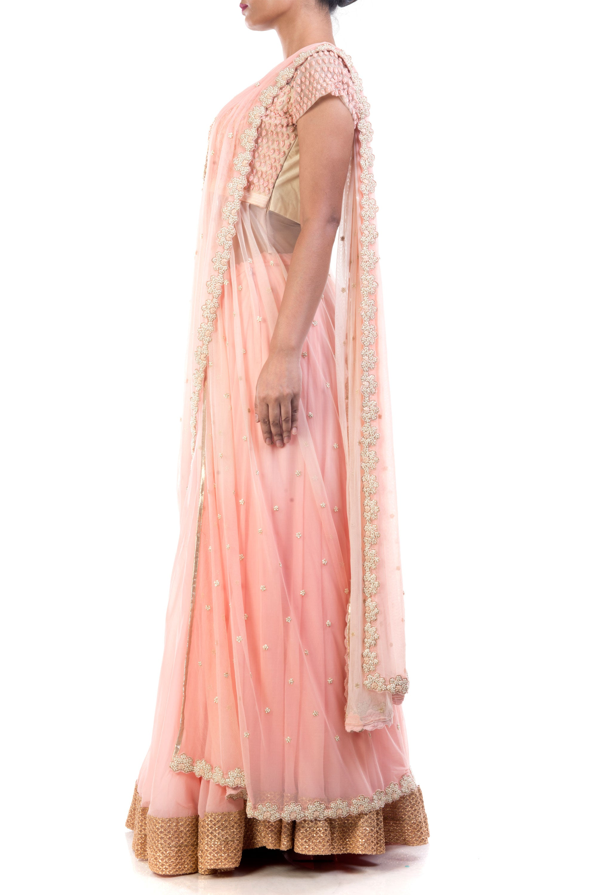 Bisque Lehenga With Attached Dupatta Side