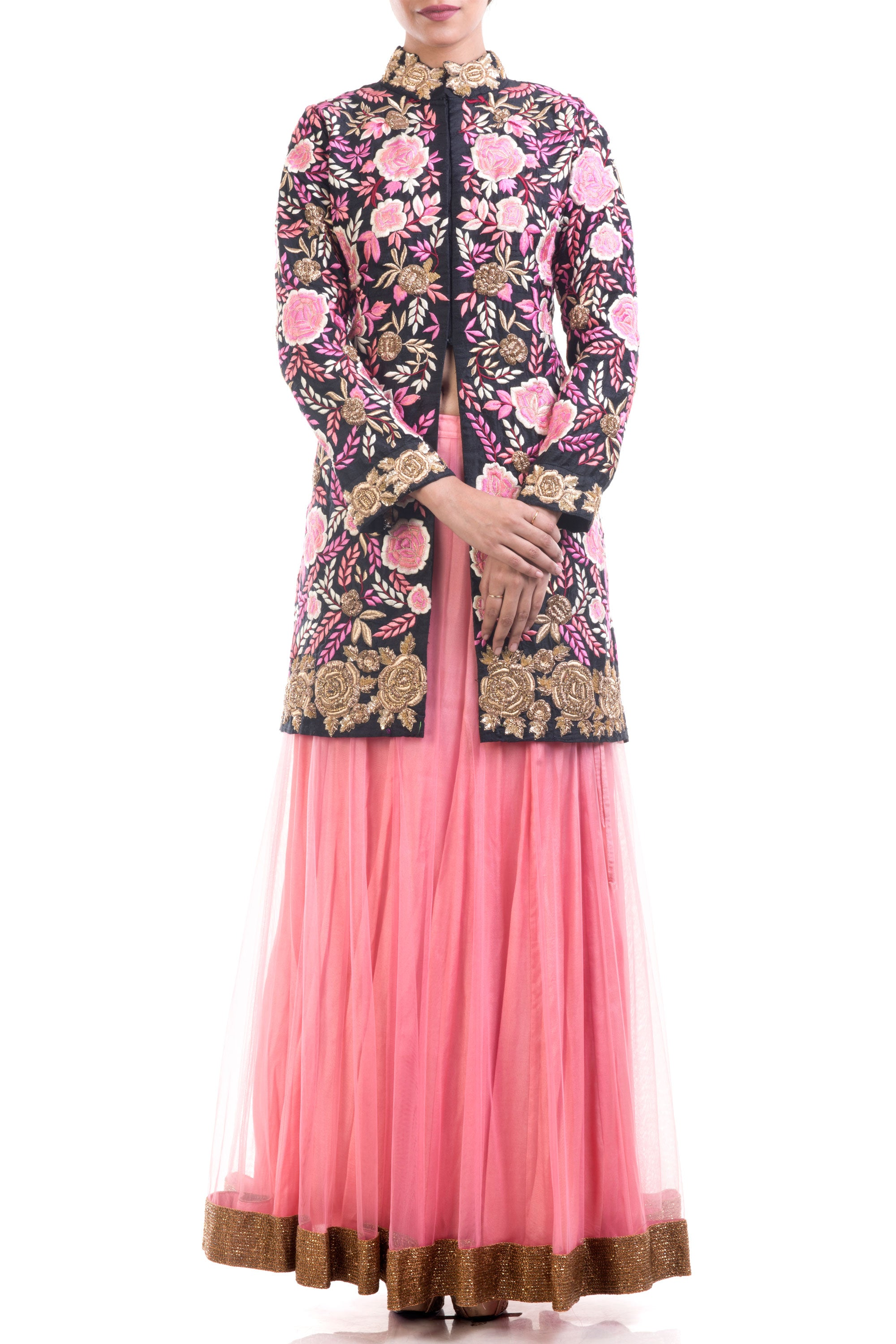 Black & Hot Pink Jacket Lehenga Set Front