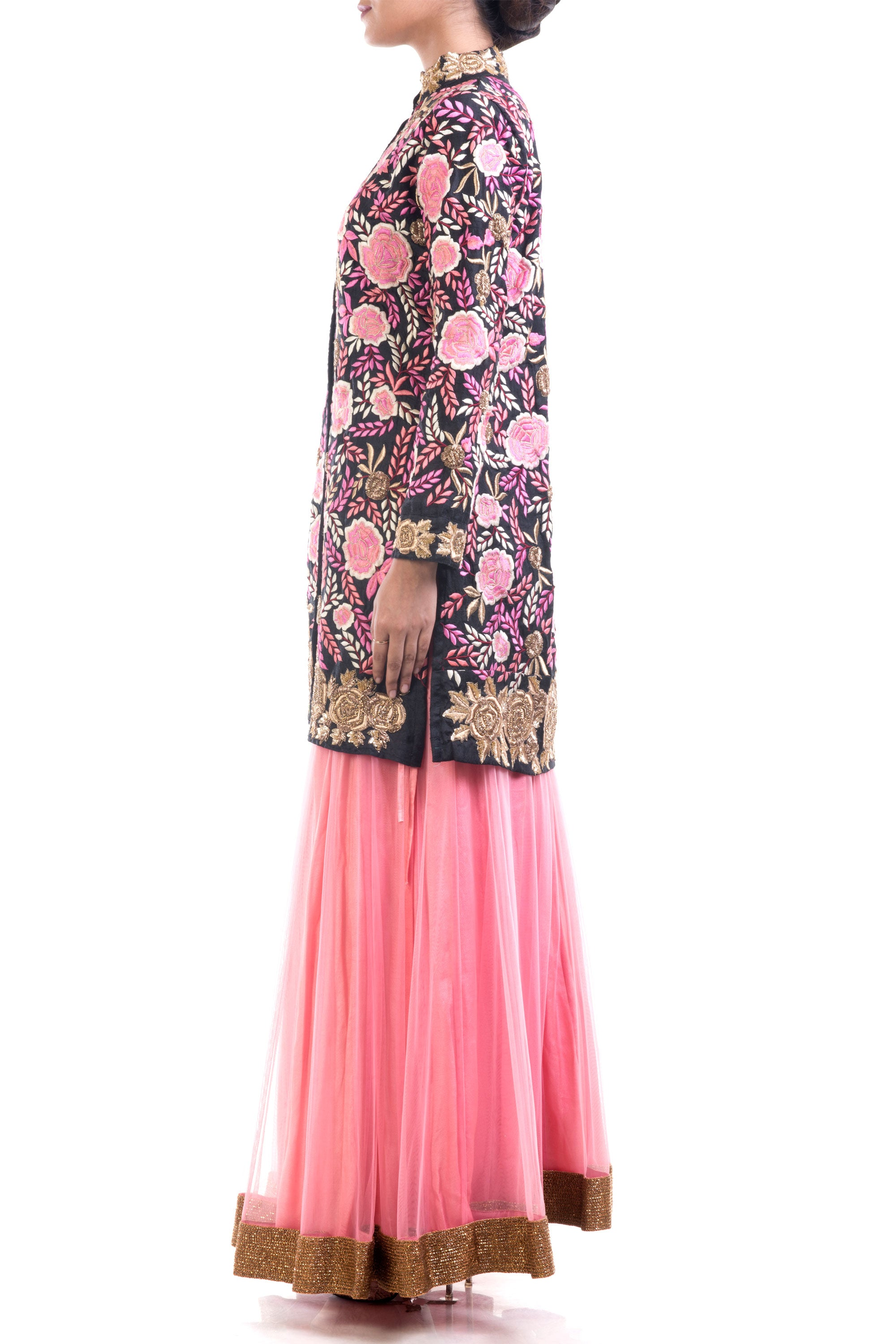 Black & Hot Pink Jacket Lehenga Set Side