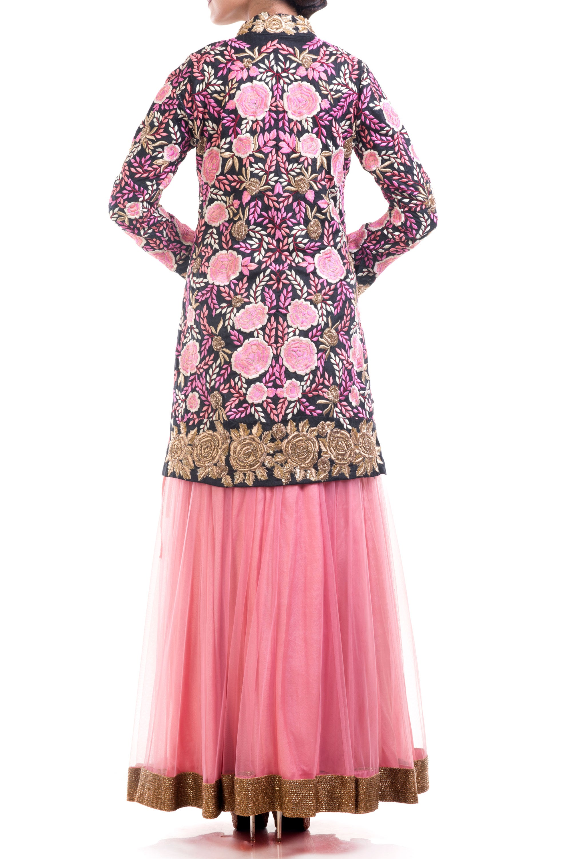 Black & Hot Pink Jacket Lehenga Set Back