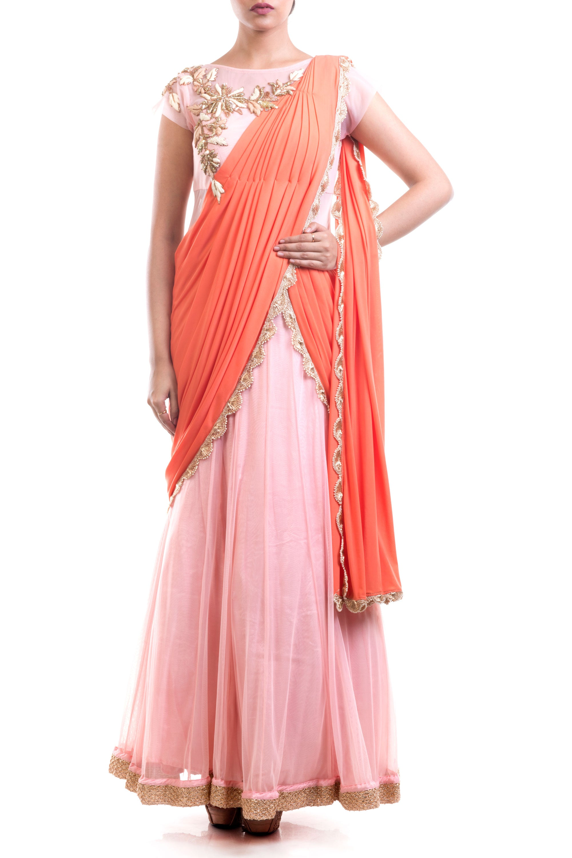 Coral & Pink Gown Saree Front