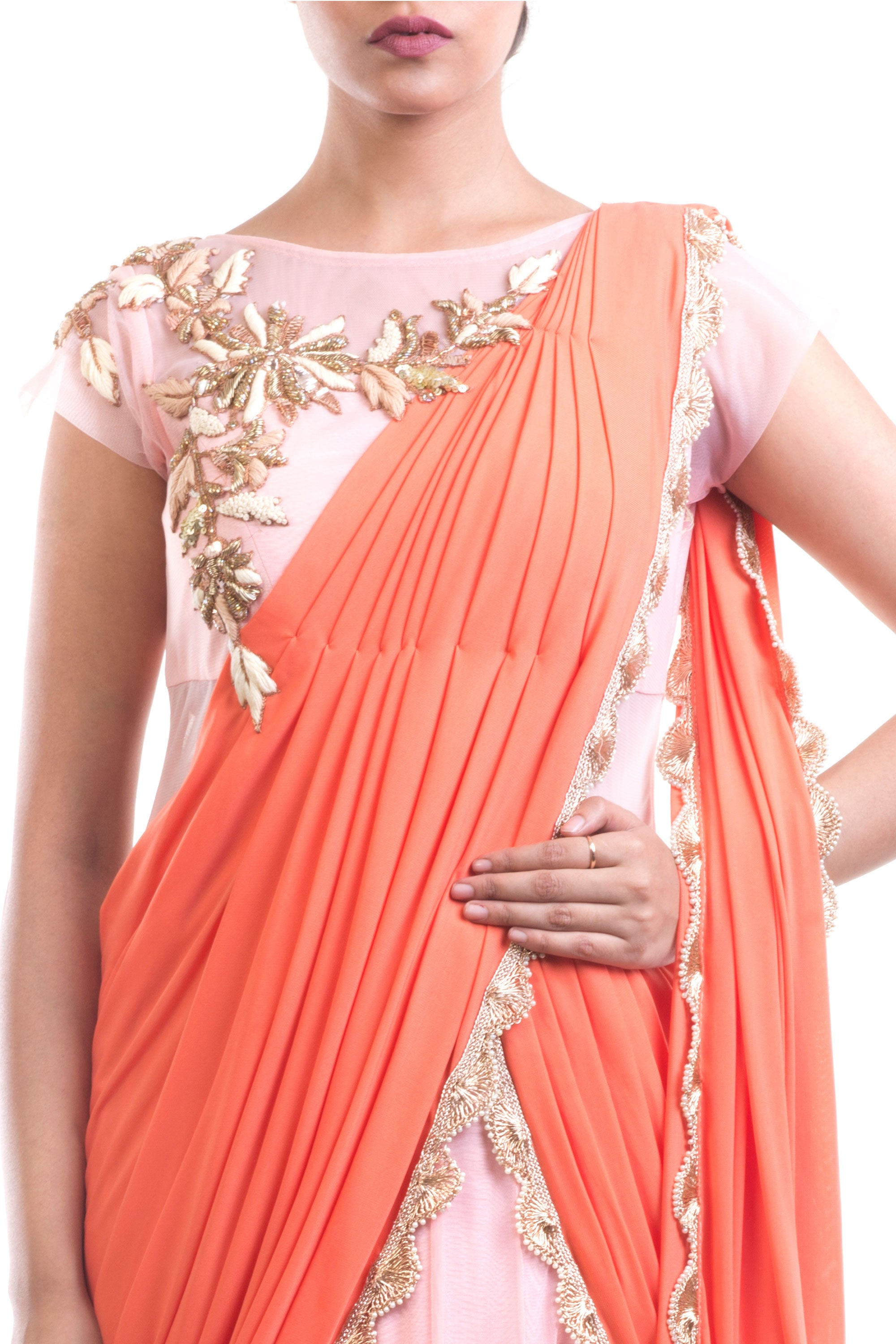 Coral & Pink Gown Saree Closeup