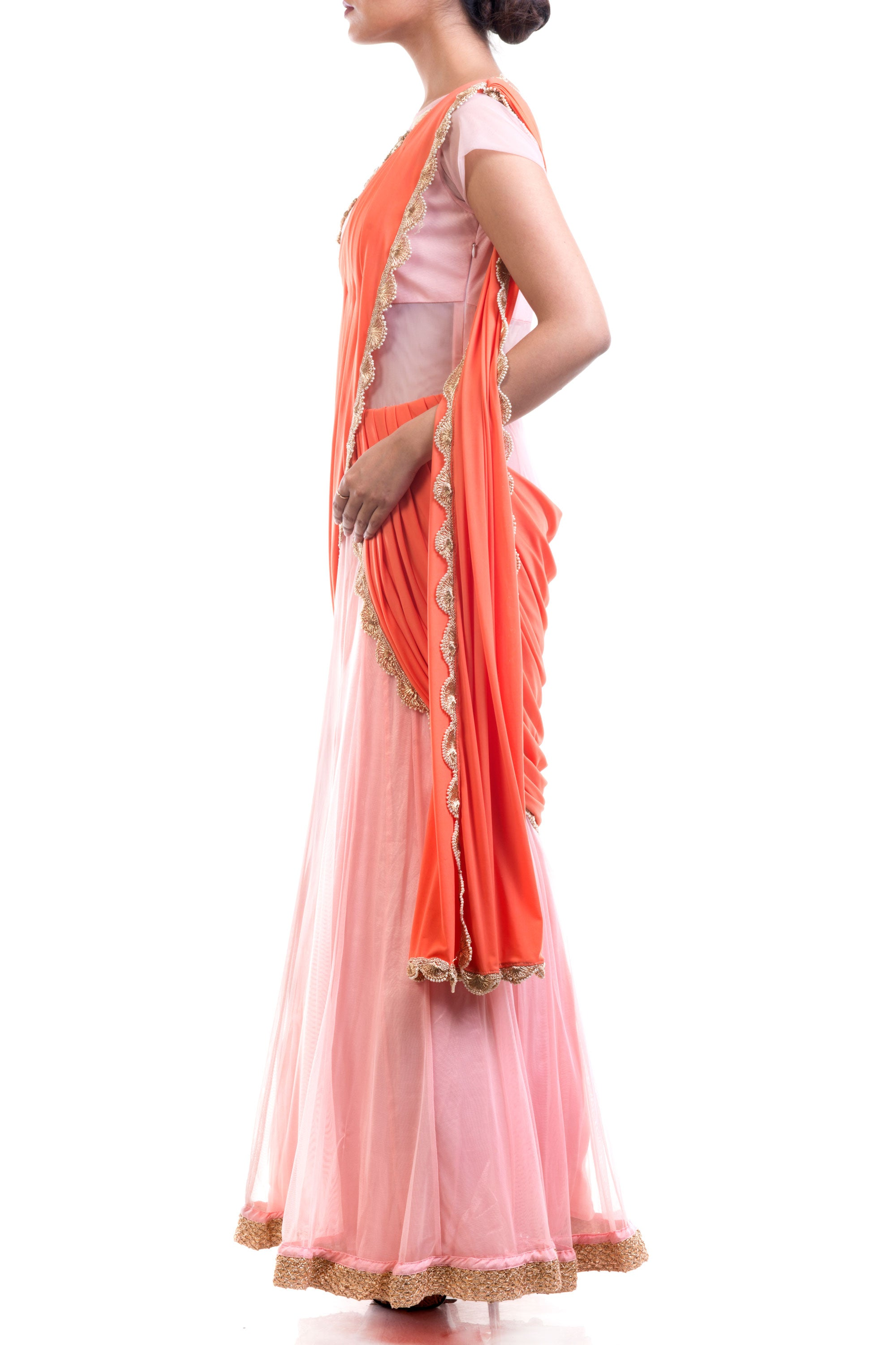 Coral & Pink Gown Saree Side