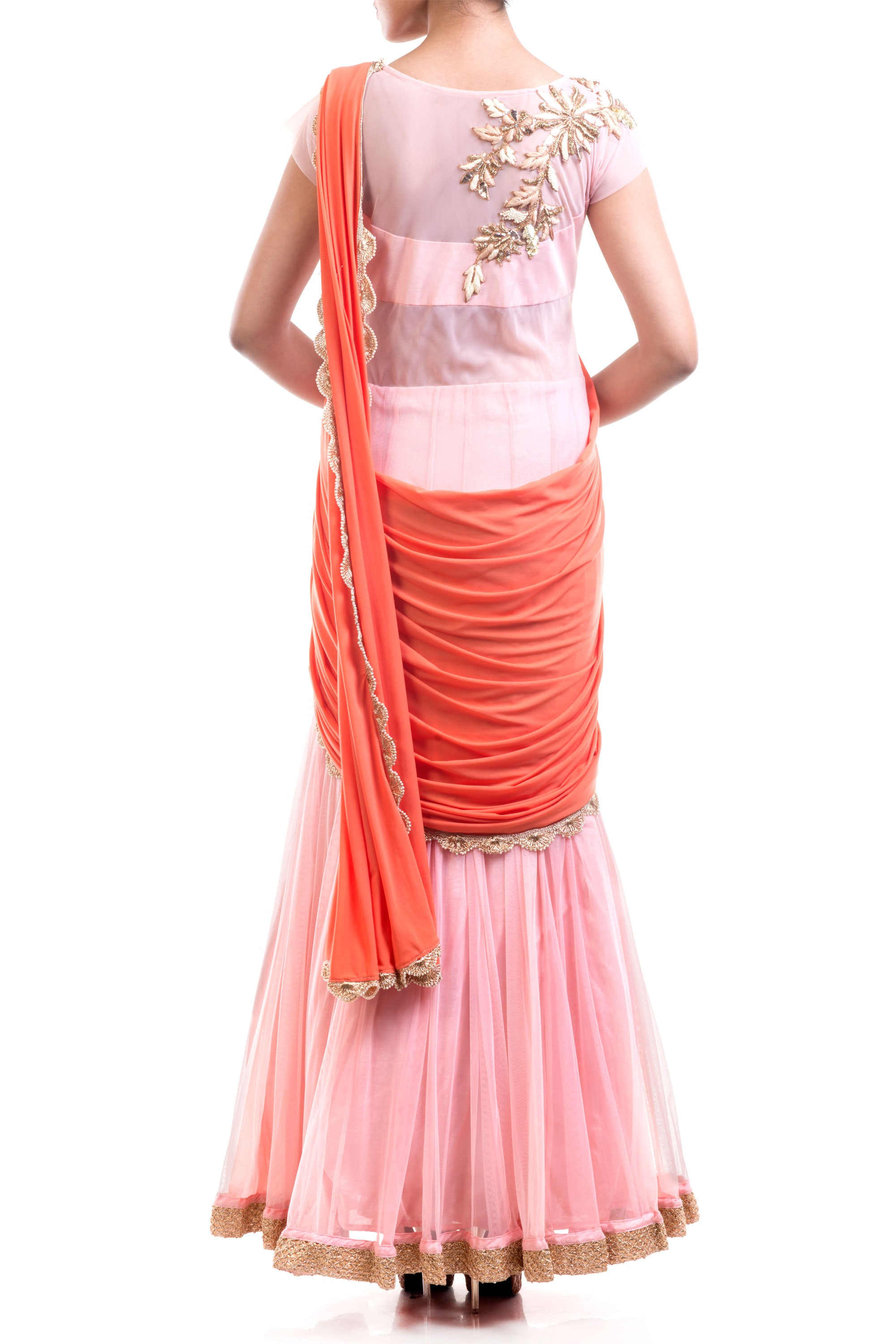 Coral & Pink Gown Saree Back