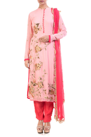 Peach Puff & Hot Pink Suit Set Front