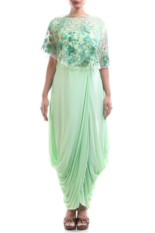 Azure Dhoti Draped Gown & Cape Set Front