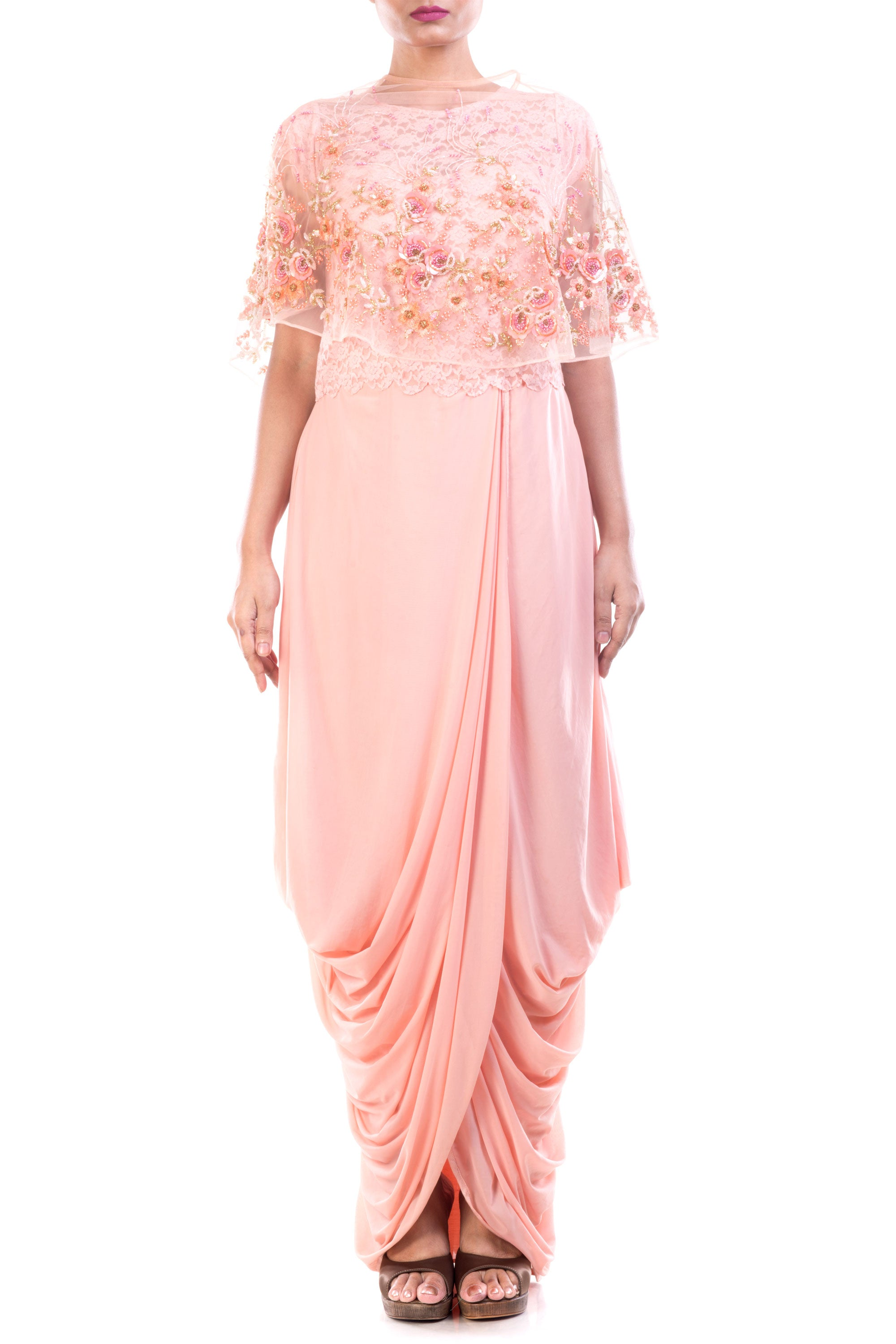 Seashell Dhoti Draped Gown & Cape Set Front