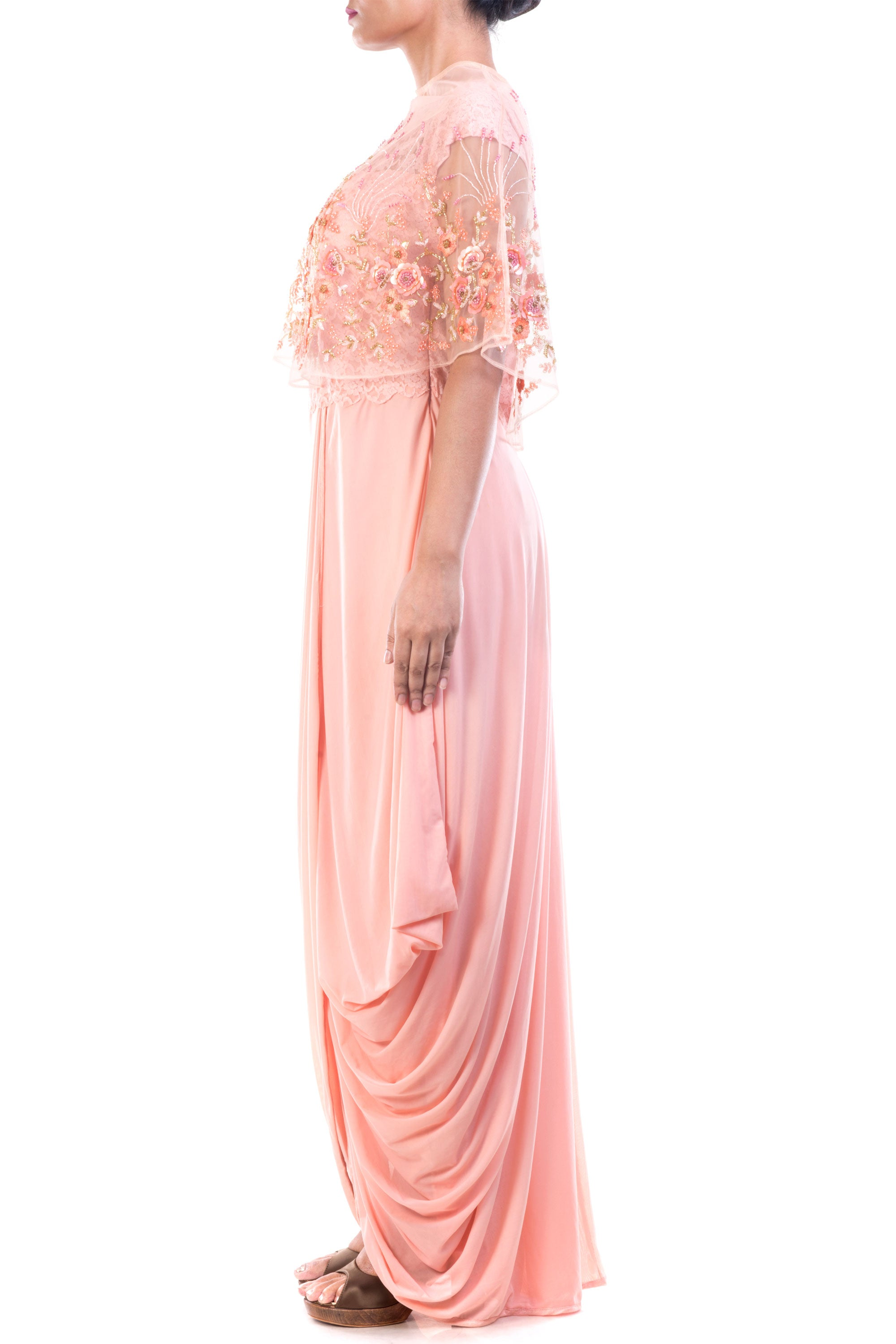 Seashell Dhoti Draped Gown & Cape Set Side