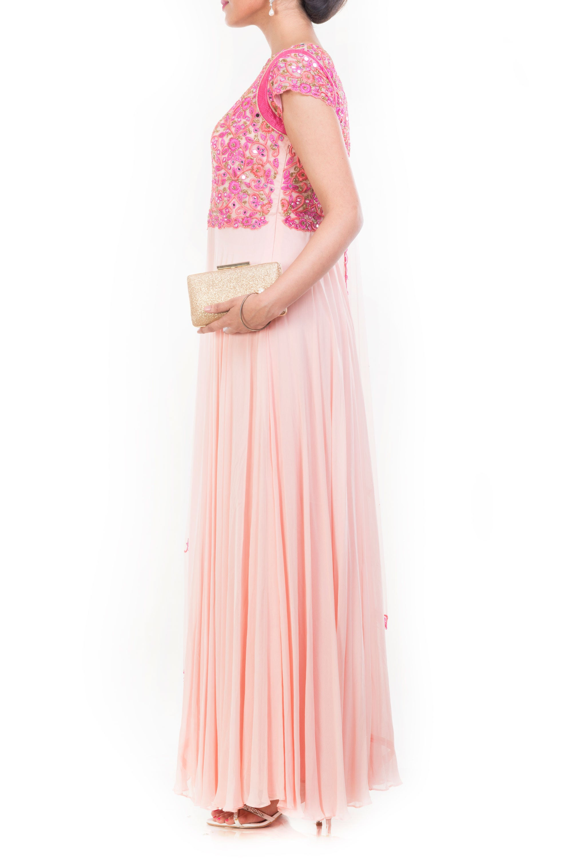 Peach Mirror Embroidered Suit Set Side