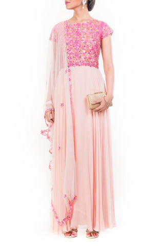 Peach Mirror Embroidered Suit Set Front