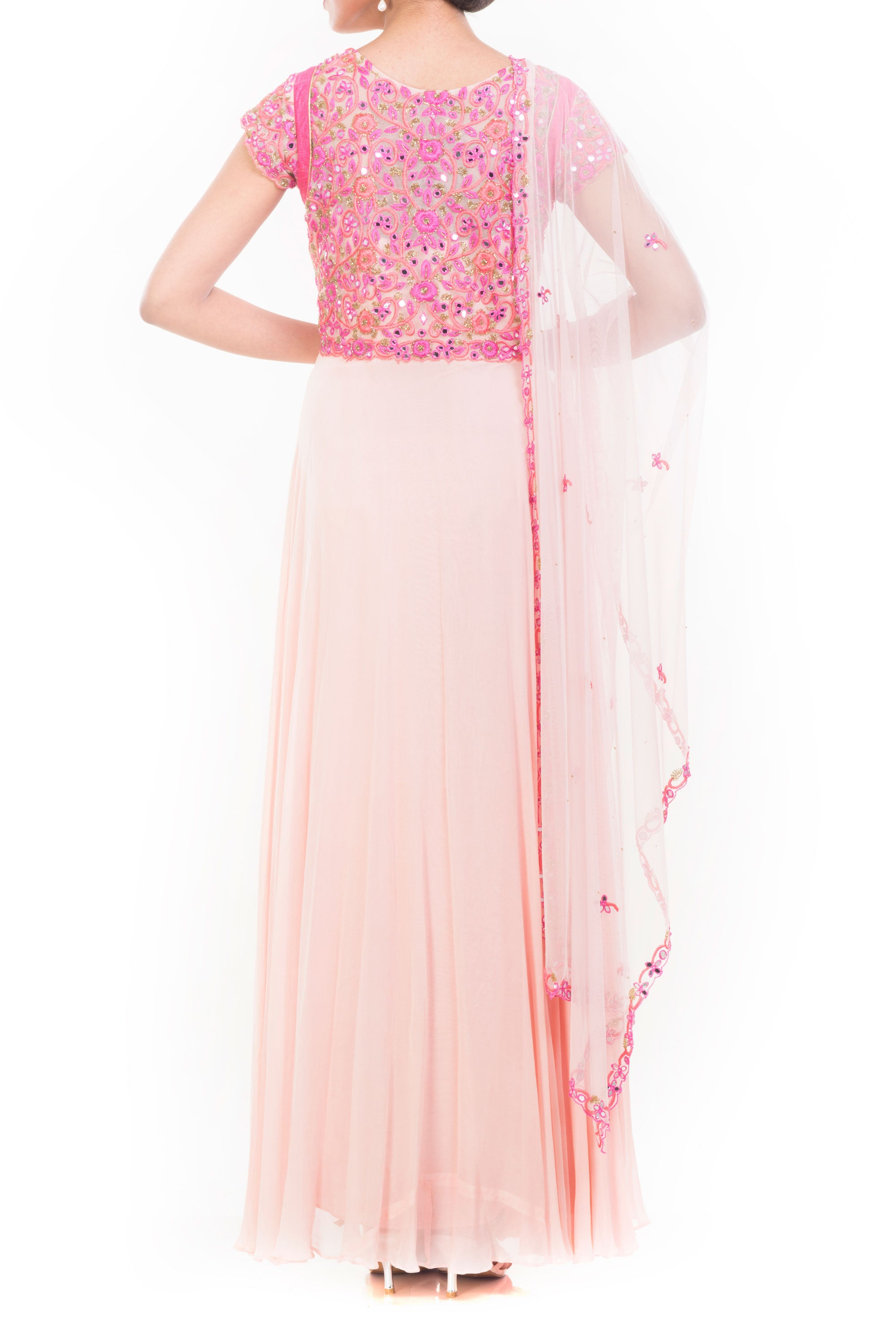 Peach Mirror Embroidered Suit Set Back