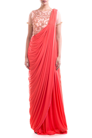 Bisque & Tomato Red Gown Saree Front