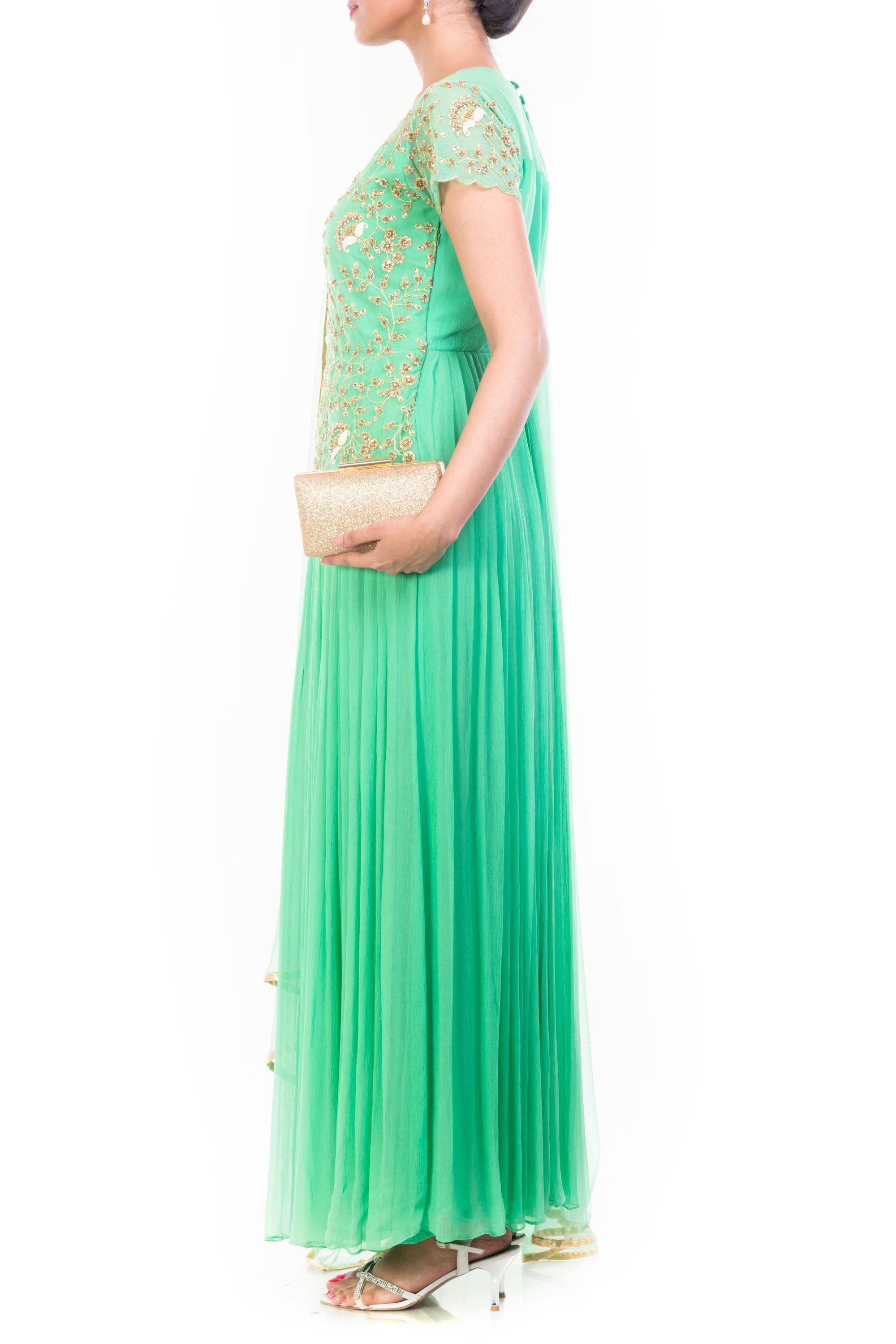 Aquamarine Gown Set With Embroidered Yoke Side