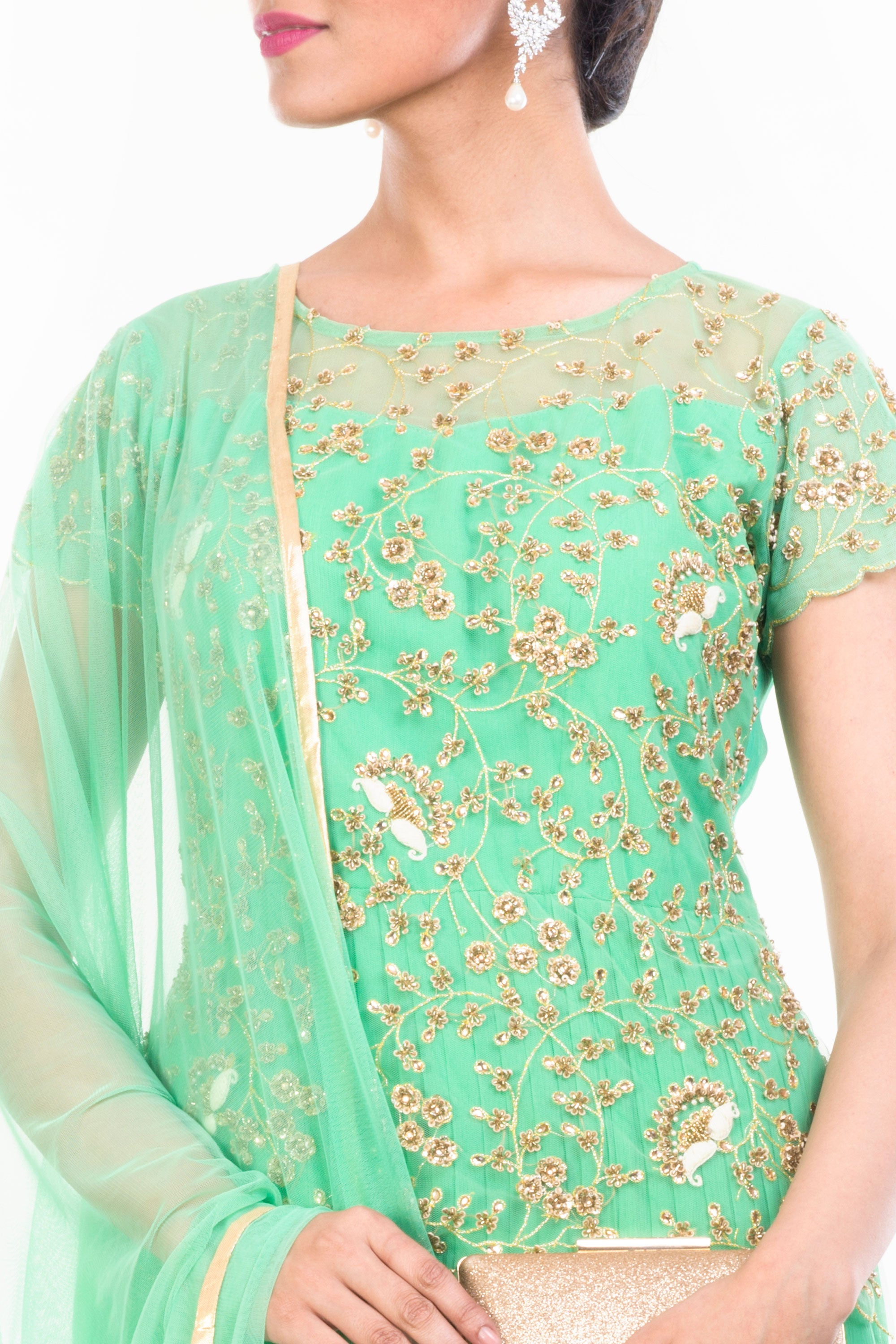 Aquamarine Gown Set With Embroidered Yoke Closeup