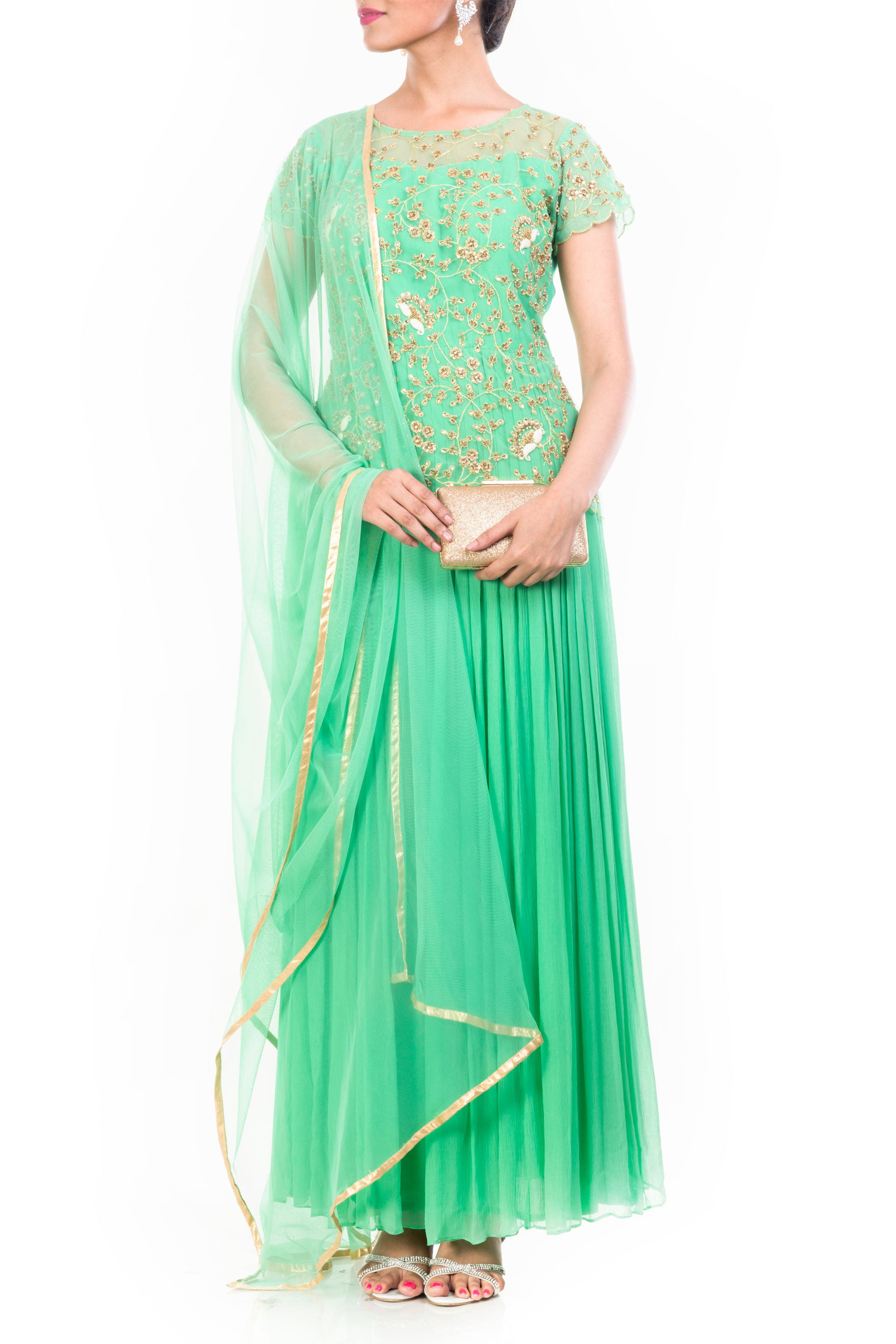 Aquamarine Gown Set With Embroidered Yoke Front