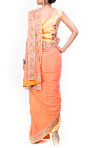 Yellow & Light Salmon Dhoti Saree