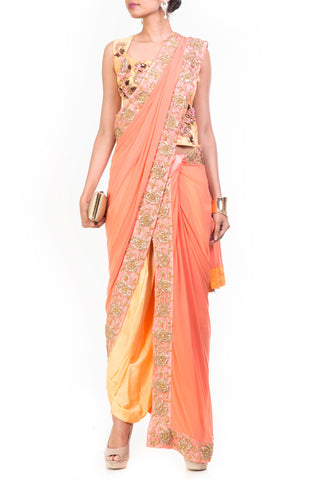 Yellow & Light Salmon Dhoti Saree Front