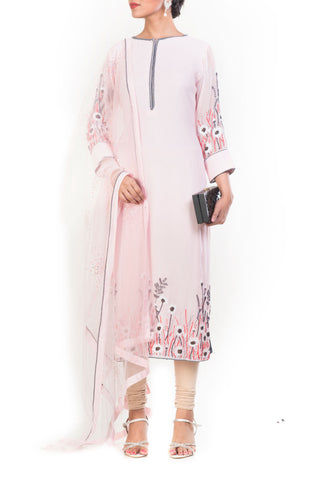 Pastel Pink Embroidered Suit Set Front