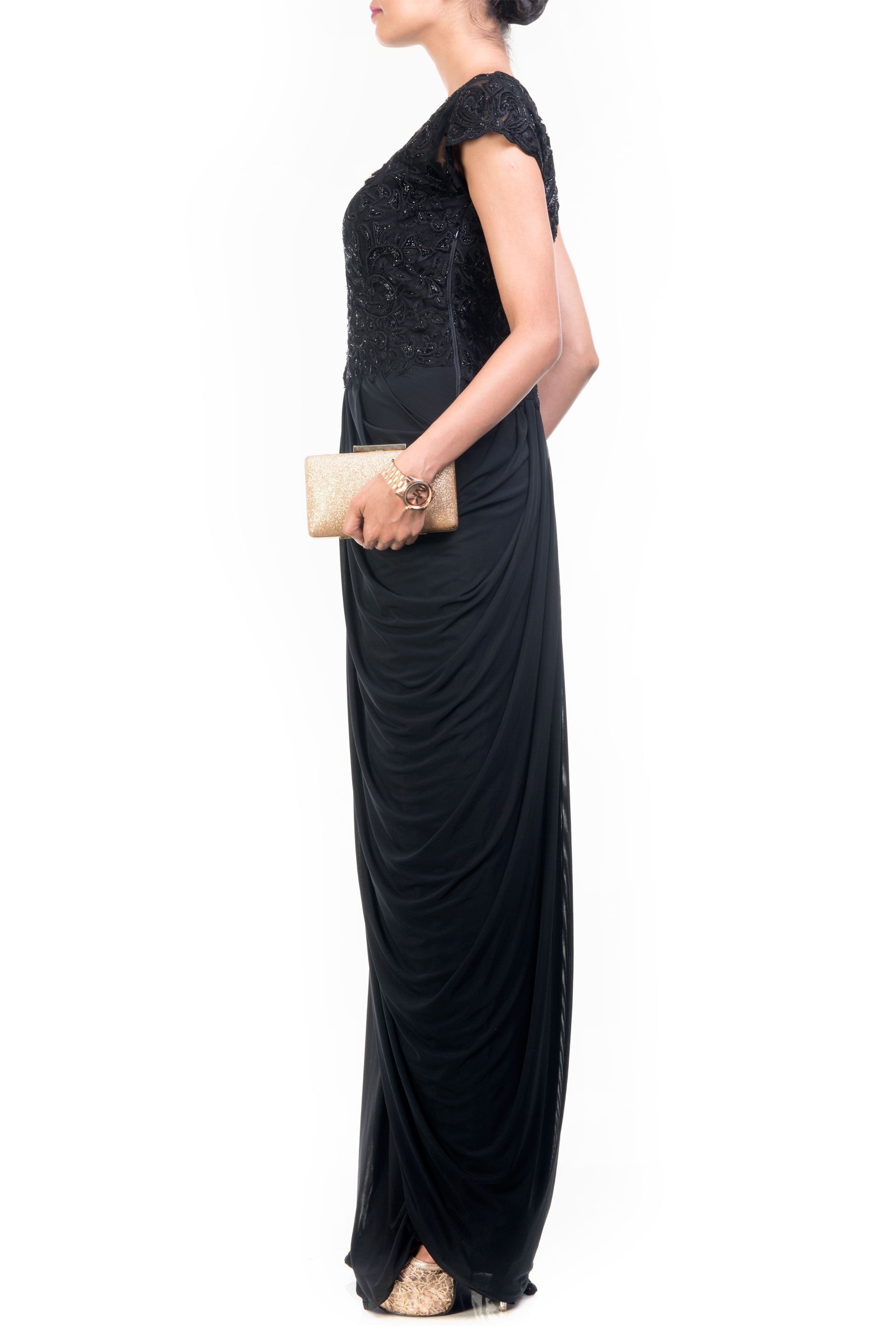 Black Cocktail Gown Side