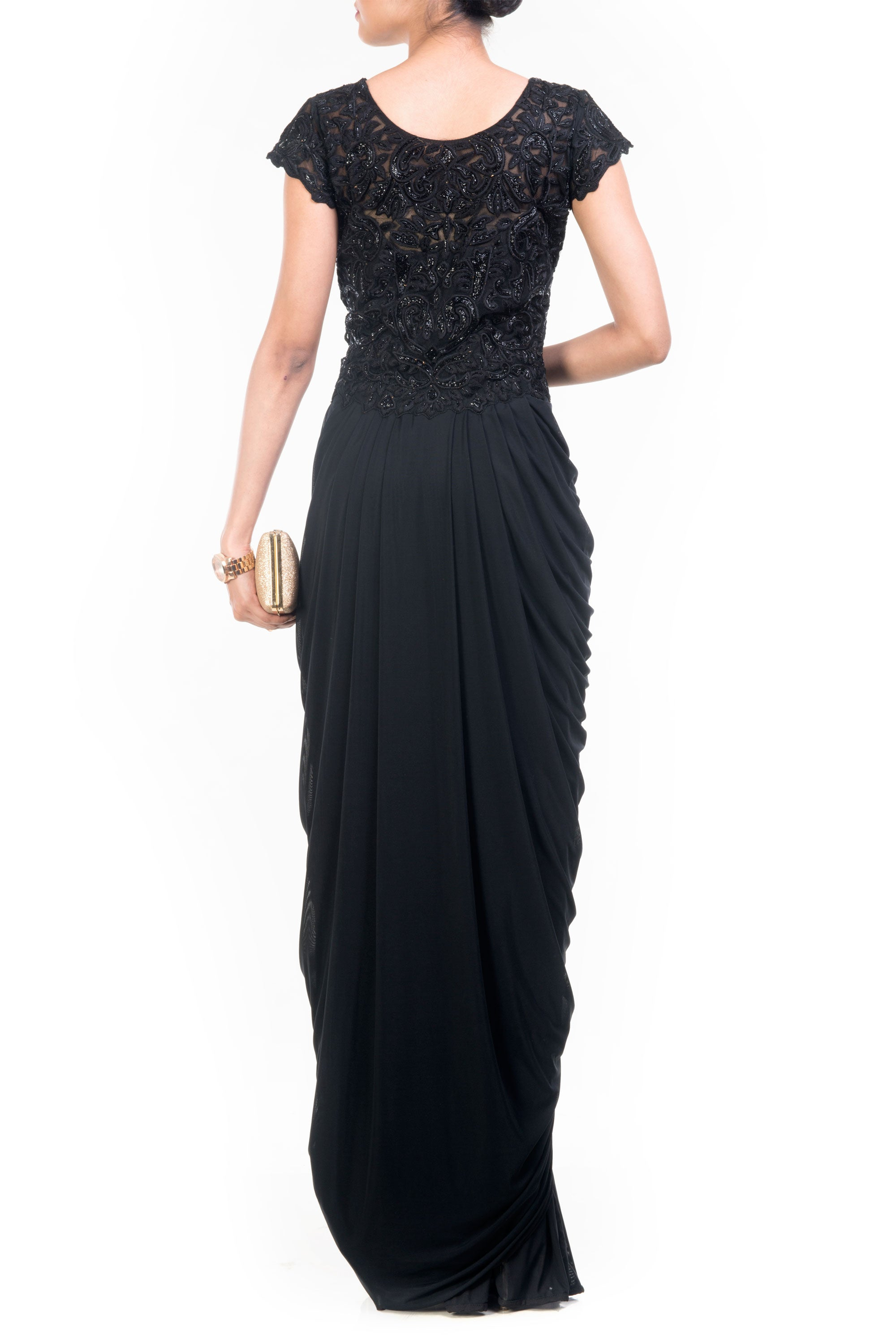 Black Cocktail Gown Back