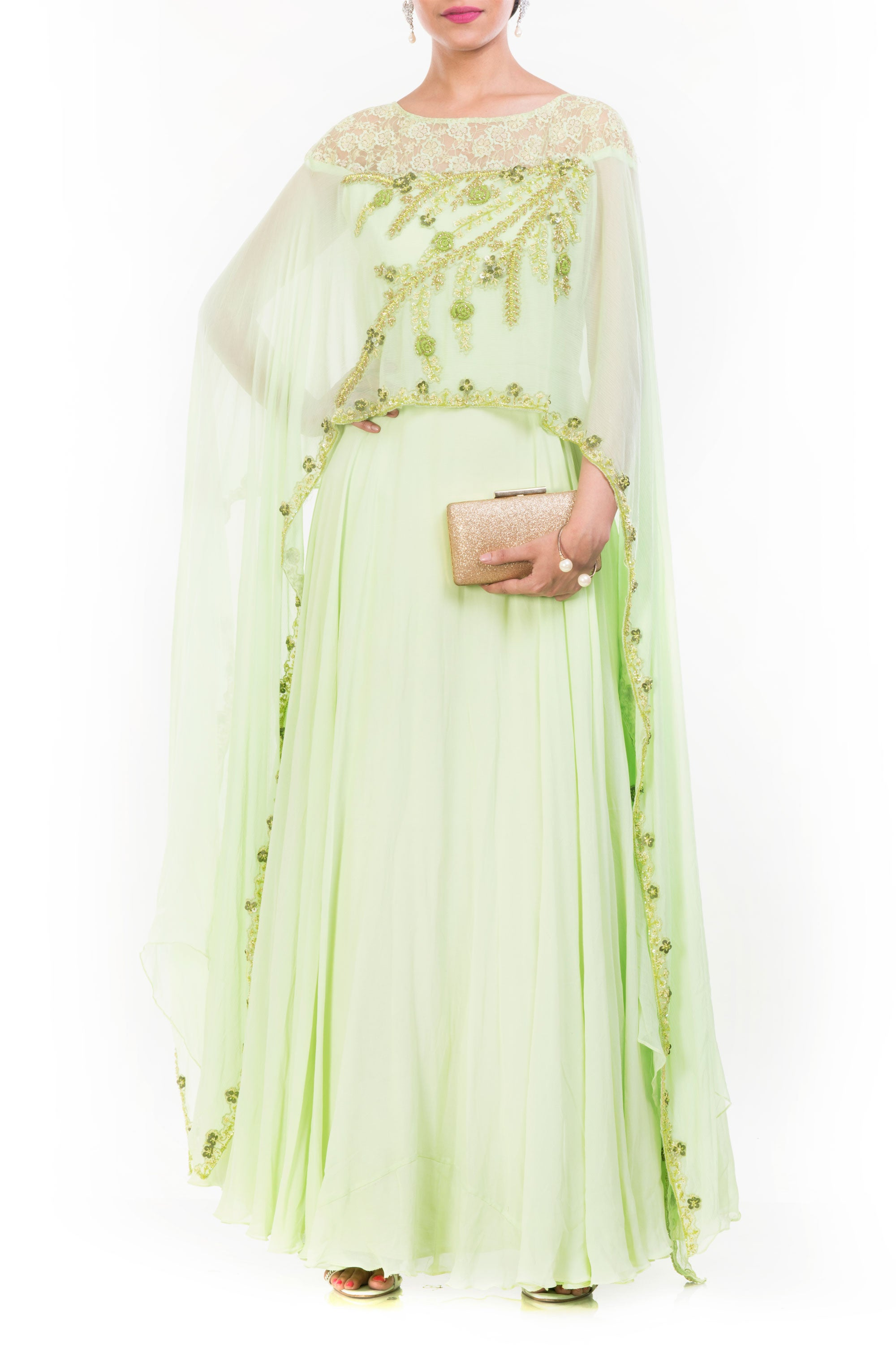 Pale Green Cape Gown Front