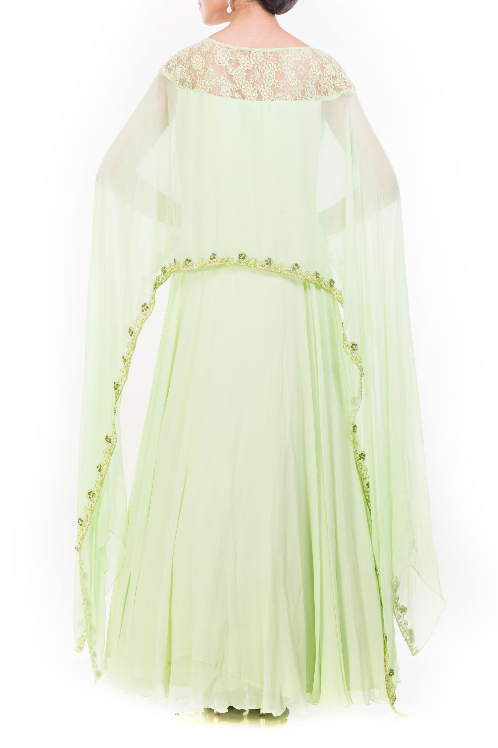 Pale Green Cape Gown Back