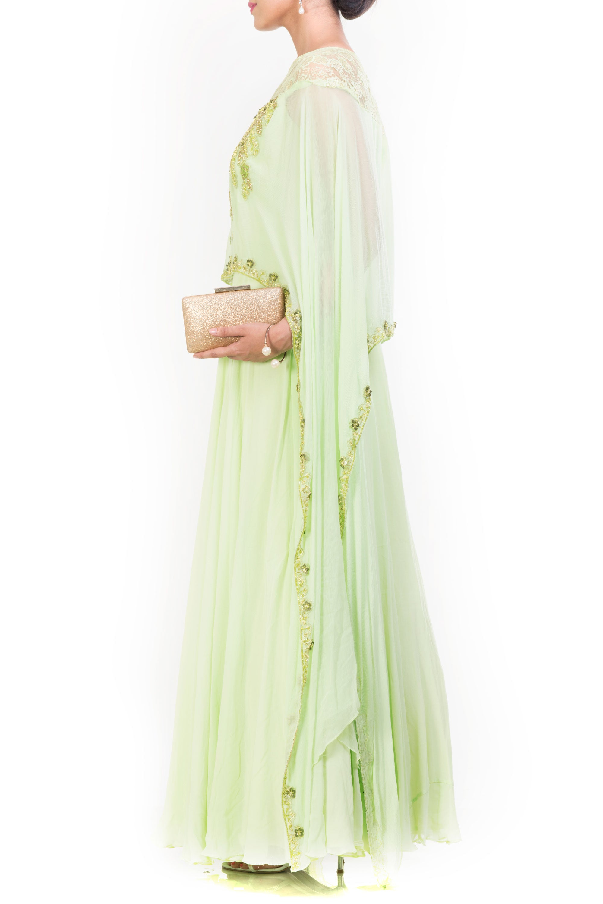 Pale Green Cape Gown Side