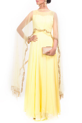 Bright Yellow Gown With Embroidered Long Cape Front