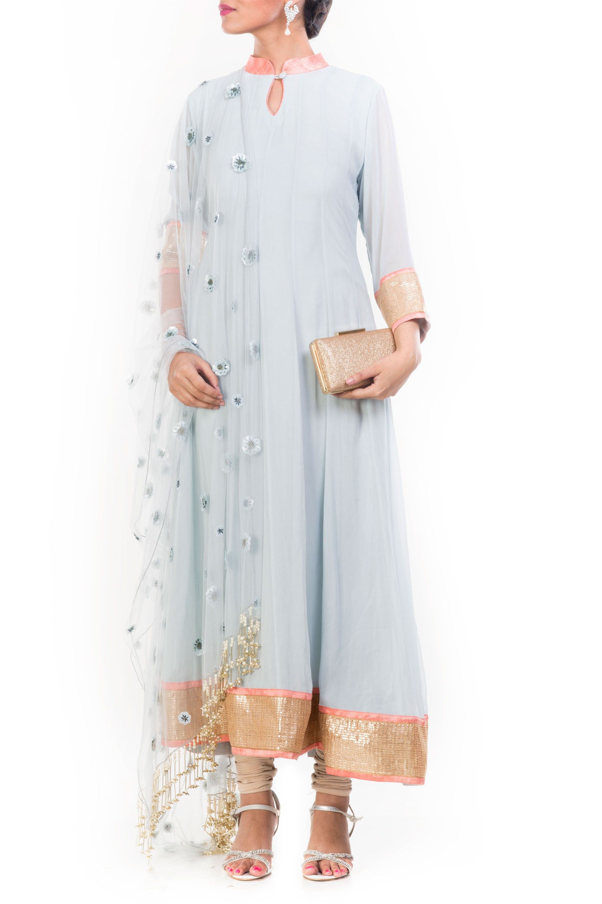 Grainsboro Anarkali Suit Set Front