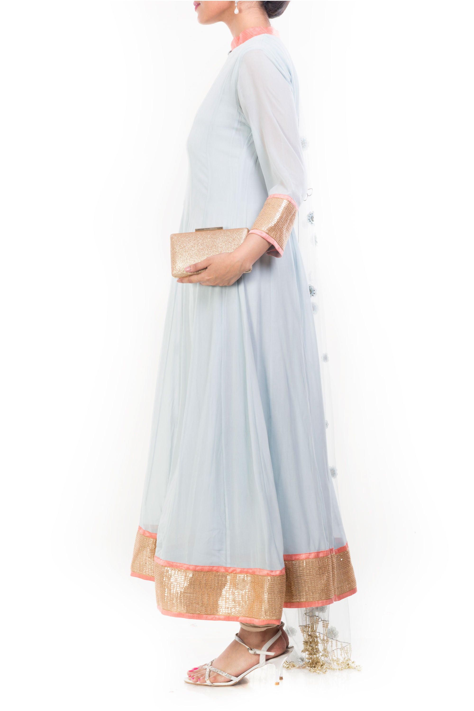 Grainsboro Anarkali Suit Set Side