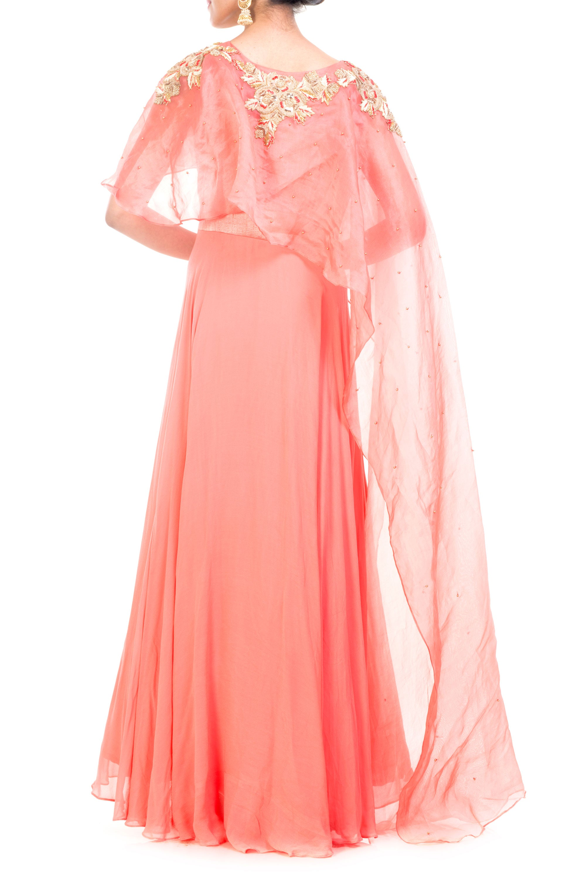 Light Salmon Gown With Long Cape Back