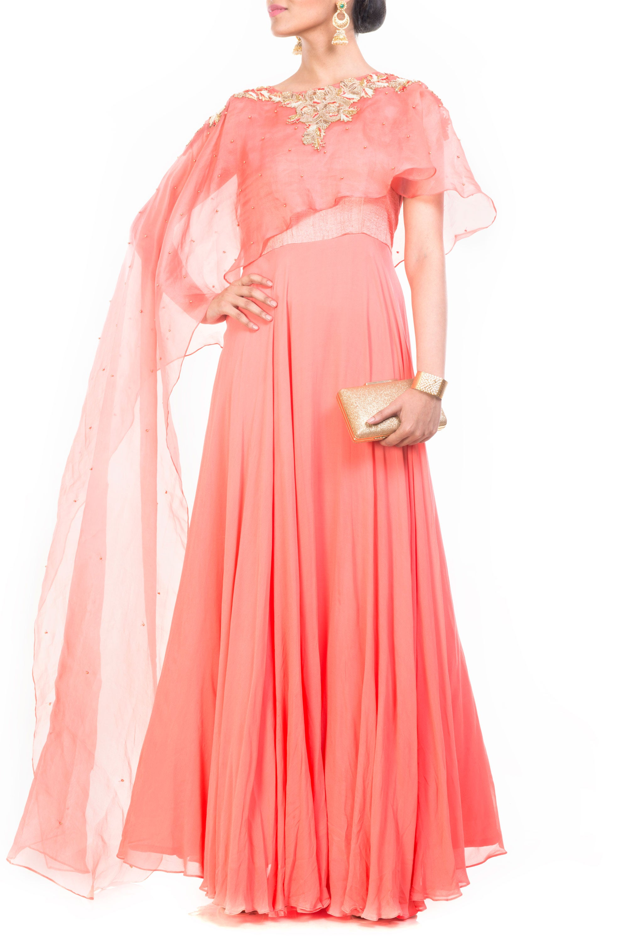 Light Salmon Gown With Long Cape Front