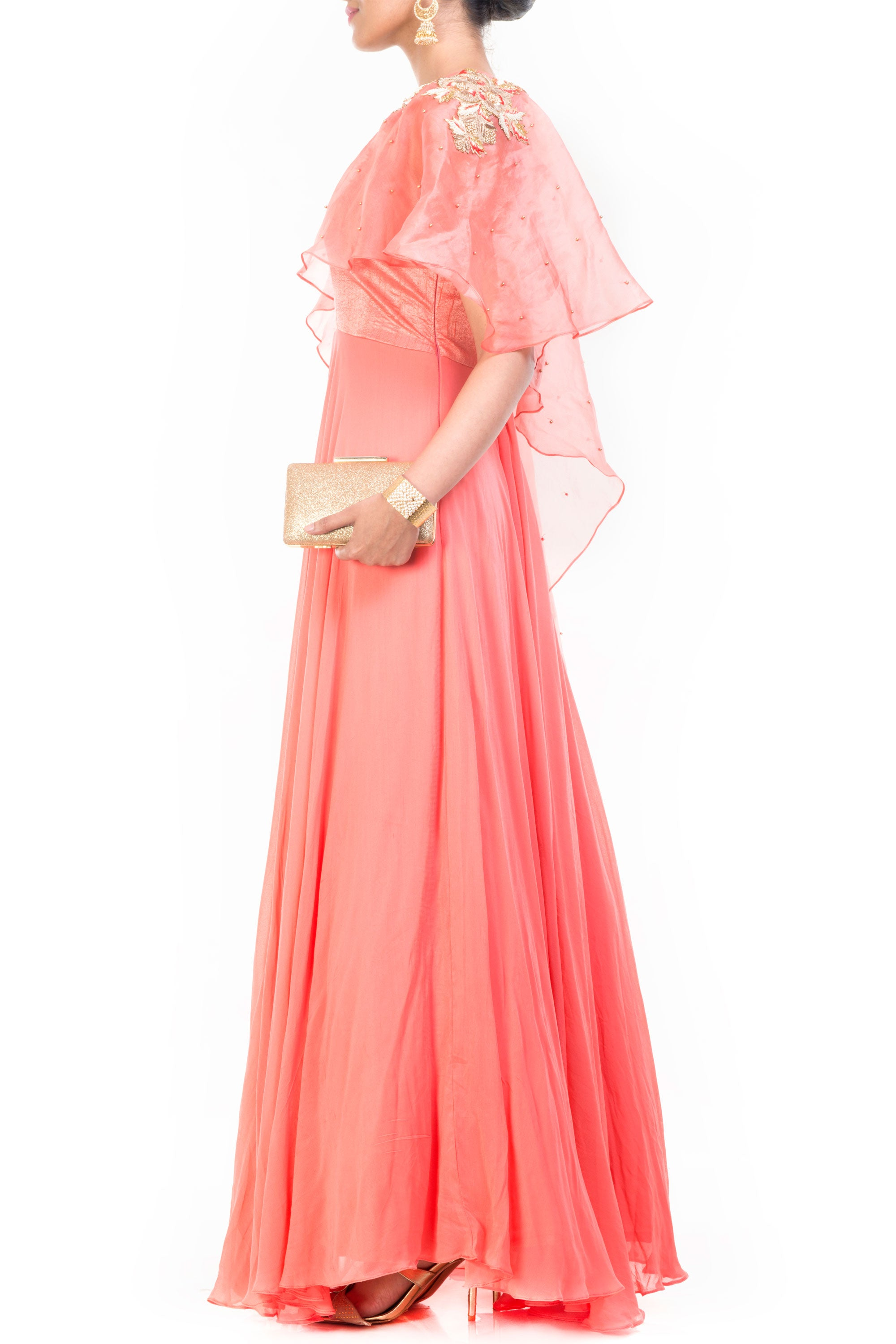 Light Salmon Gown With Long Cape Side