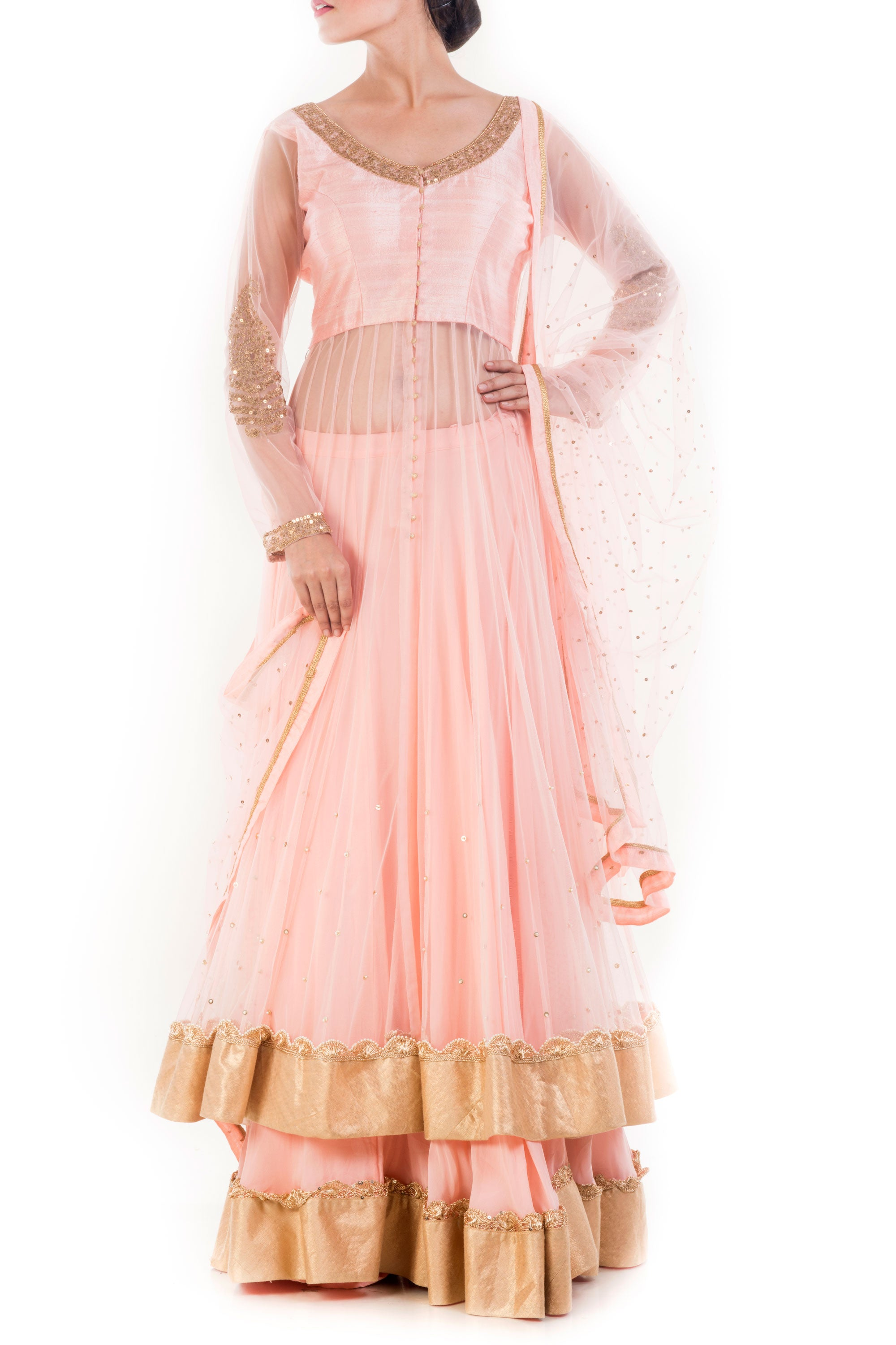 Peach & Golden Embellished Jacket Lehenga Set Front