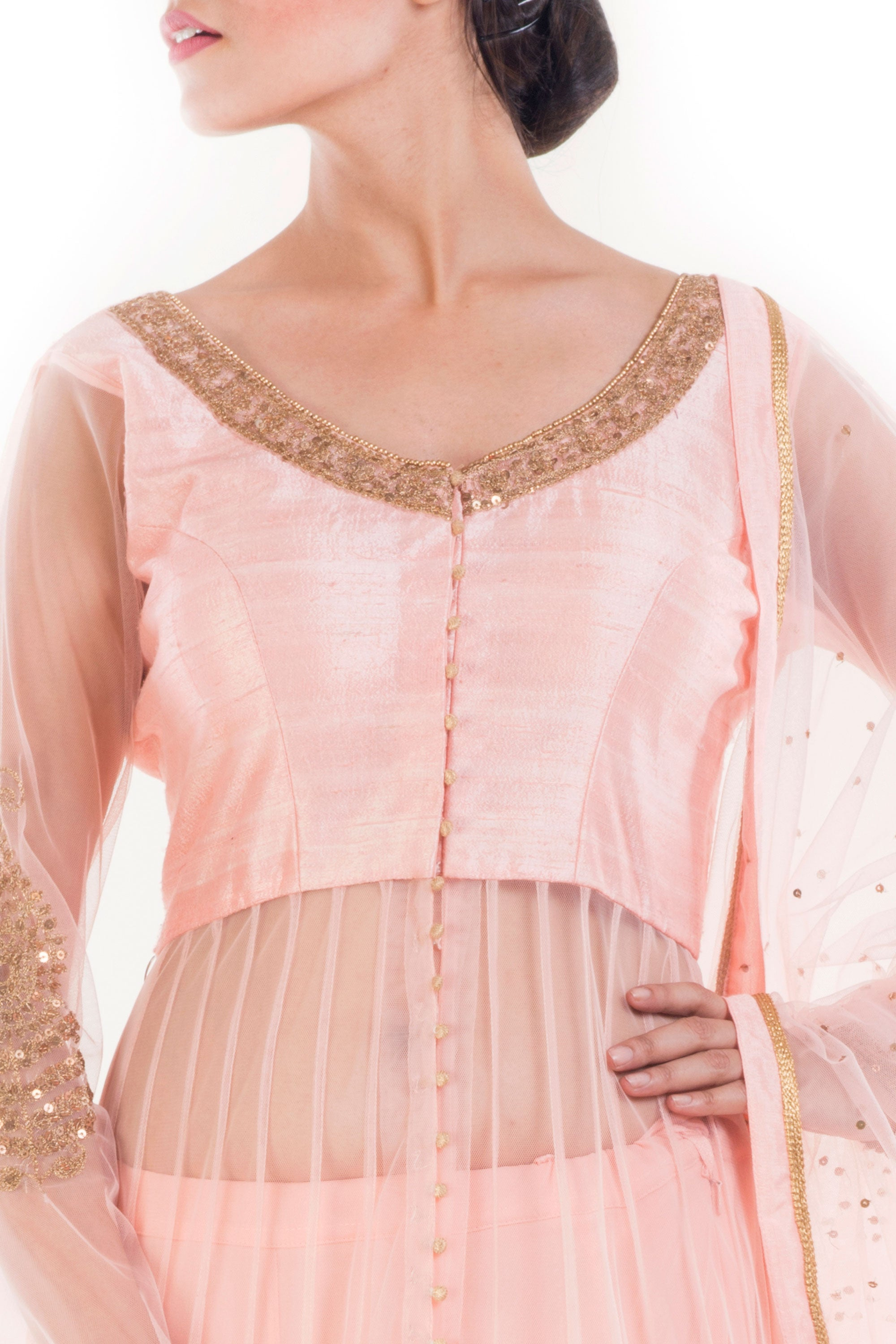 Peach & Golden Embellished Jacket Lehenga Set Closeup