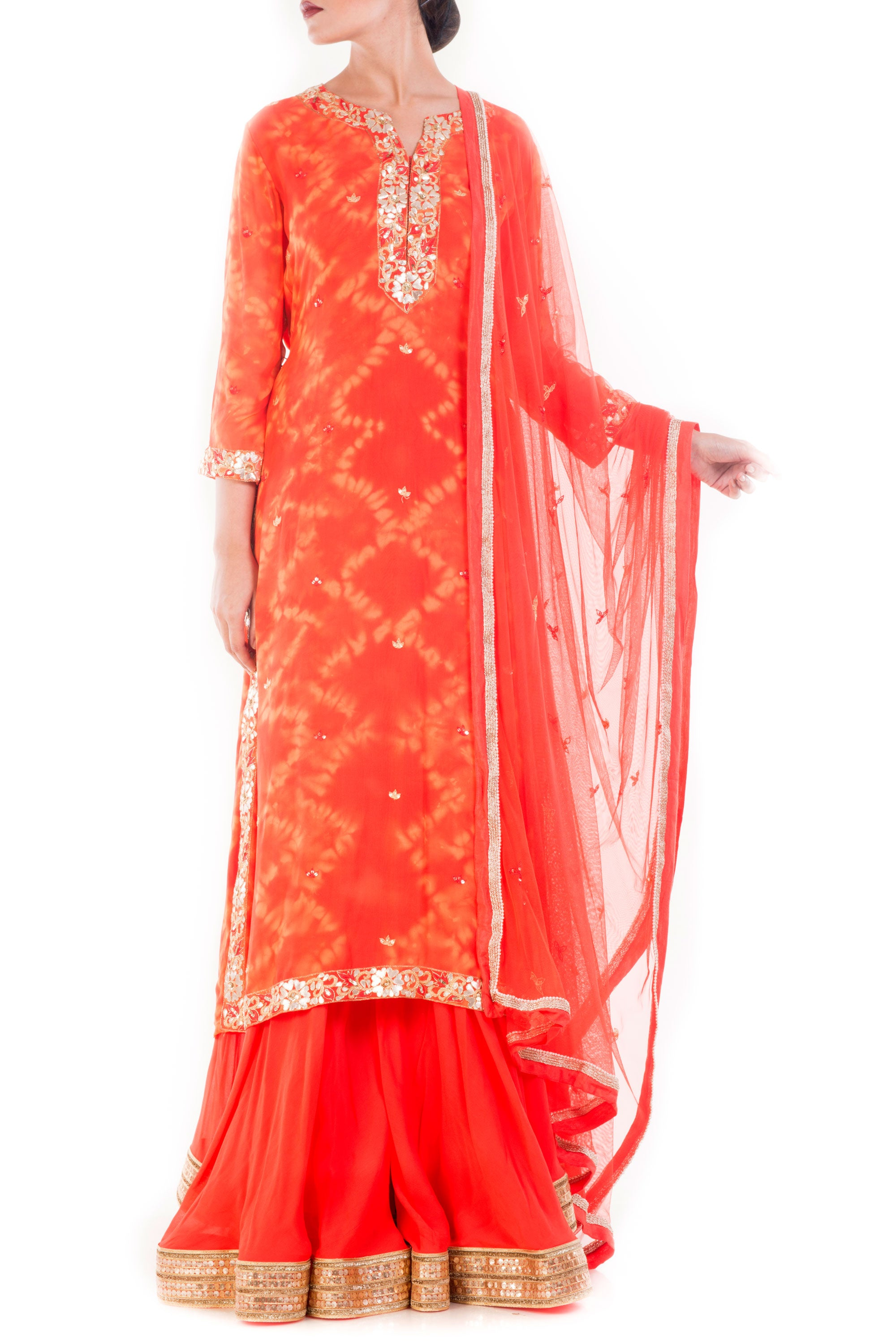 Tangerine Gold Embellished Sharara Set Front
