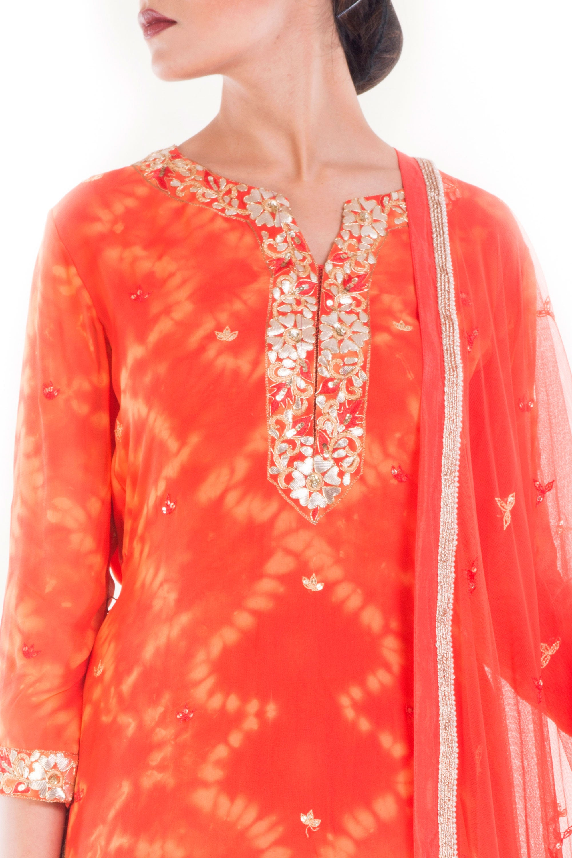 Tangerine Gold Embellished Sharara Set Closeup