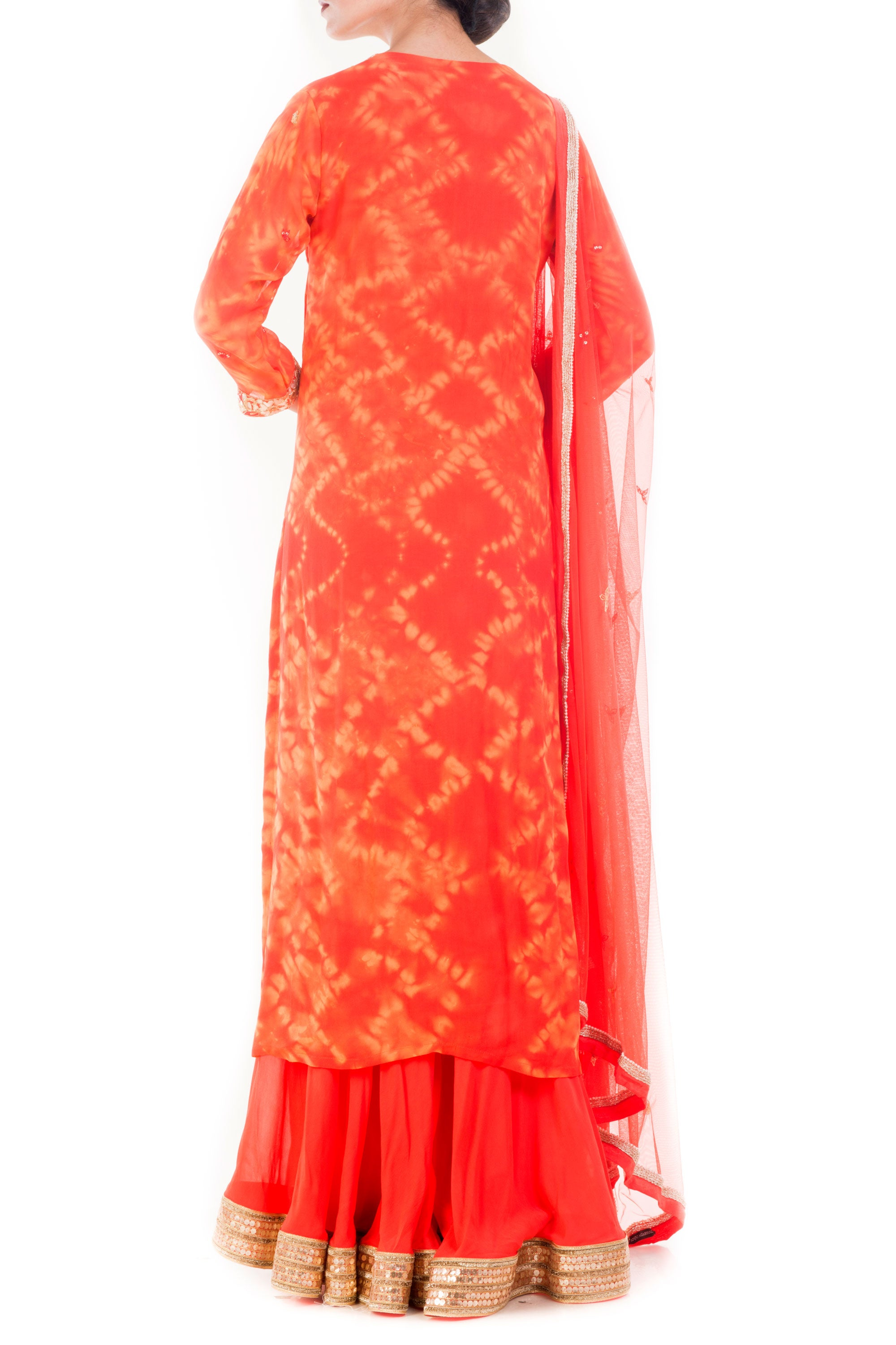 Tangerine Gold Embellished Sharara Set Back