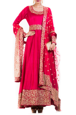 Crimson Suit With Belt & Dupatta Front