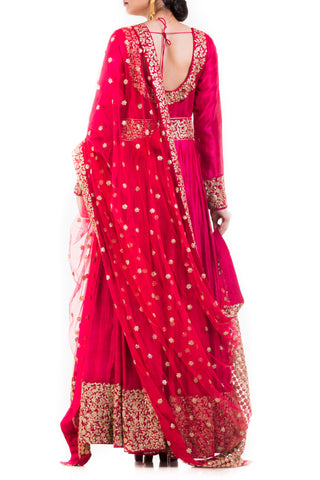 Crimson Red Anarkali Suit, Belt & Dupatta