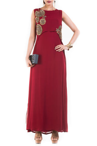 Rosewood Maroon Cape Gown Front
