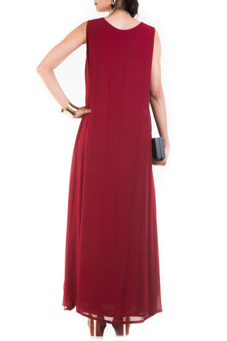 Rosewood Maroon Cape Gown