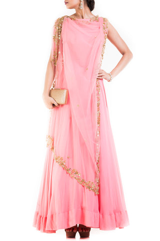 Pink long Suit With Attached Dupatta Front